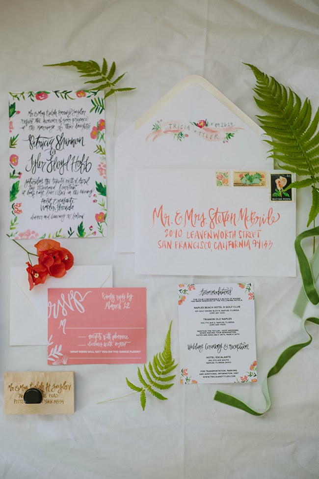 Wildflowers blog recent work tropical watercolor suite crest design really loved working on these invitations for a fancy tropical florida wedding the combination of coral charm peonies and lots of greenery was the stopboris Image collections
