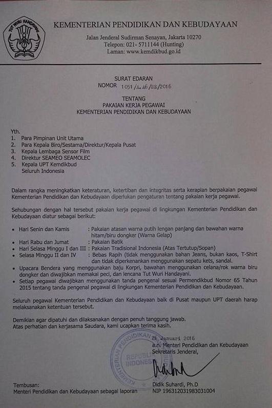 surat edaran tentang Peraturan Seragam Pegawai Kemdikbud Terbaru 2016