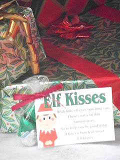Celebrate this Christmas with your Elf on the Shelf.  Have him bring this cute Elf Kisses free printable to your child to help remind them that Santa's watching and they need to be good.