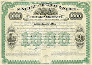 Kentucky and Great Eastern Railway Company bond from 1872