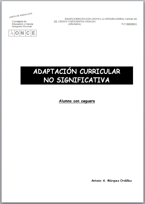 La imagen muestra la portada del documento de adaptación no significativa sólo con texto