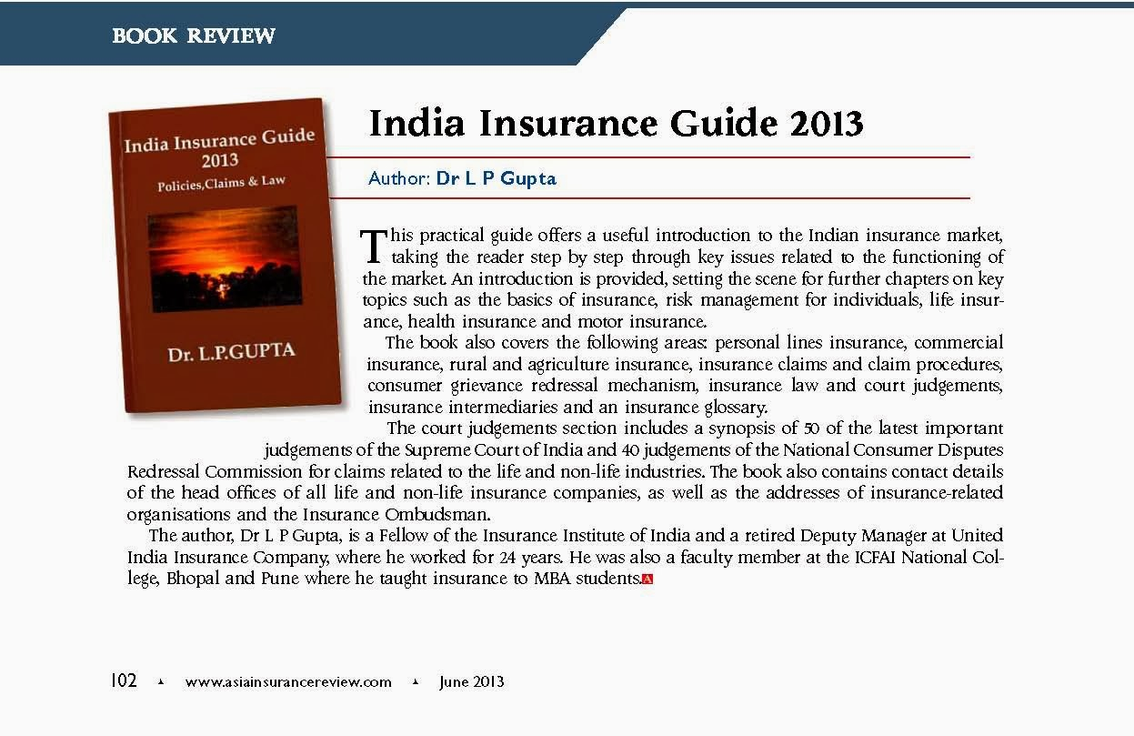 Drl p gupta october 2016 asia insurance review in june 2013 issue professional magazine published from singapore has published review of our book india insurance guide 2013 fandeluxe Gallery