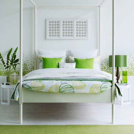 10 summer bedroom design ideas green and white