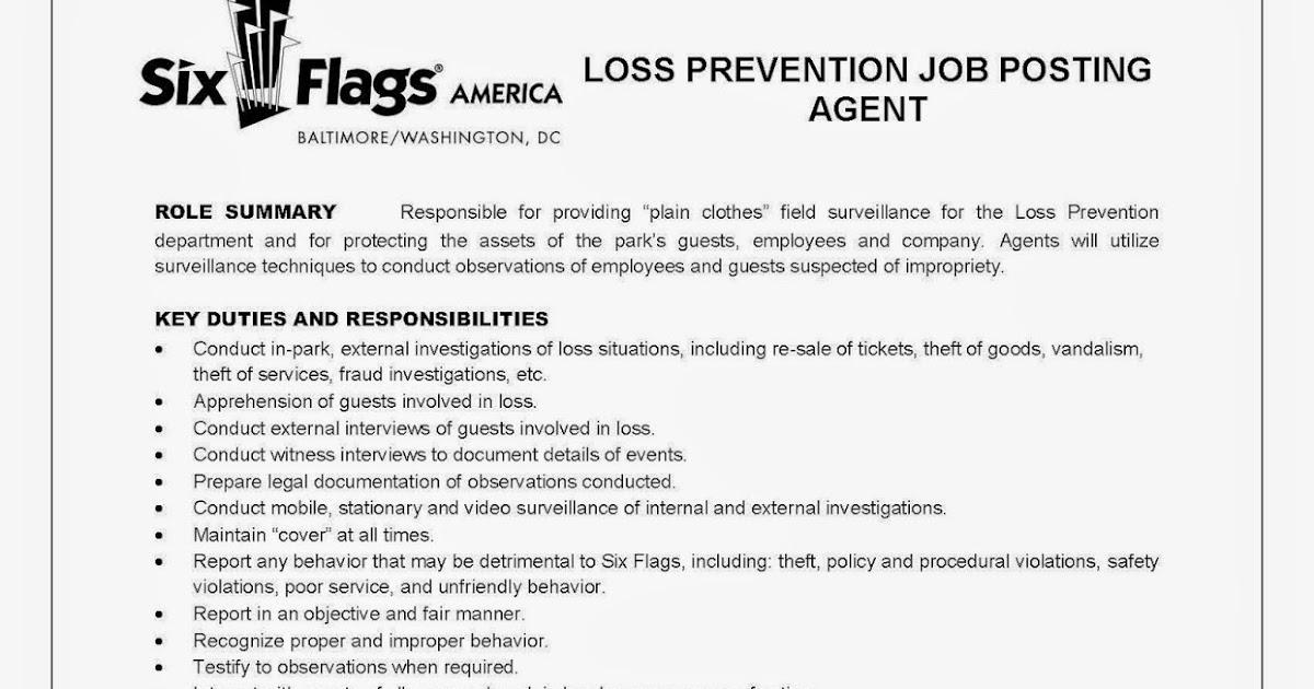 CCJS Undergrad Blog Loss Prevention Internships at Six Flags – Loss Prevention Responsibilities