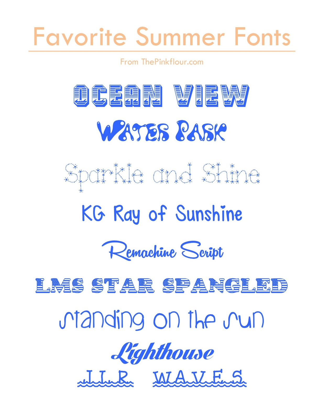 Fonts for Summer from www.thepinkflour.com