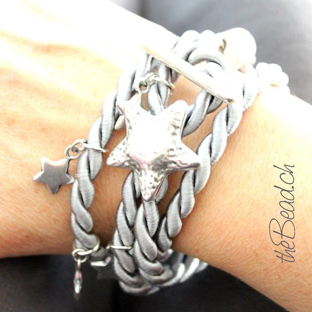 Armband STELLA aus feiner Baunwollkordel in Silbergrau und Schwarz
