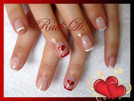 Лесен маникюр за къси нокти със сърца