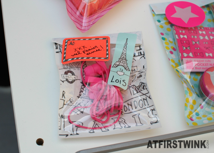 HEMA earphones paris travel themed window bag and stickers