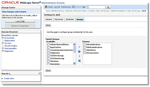 the users and groups created in the weblogic administration console can be viewed in the obiee administration console before looking at the users in the obiee administration