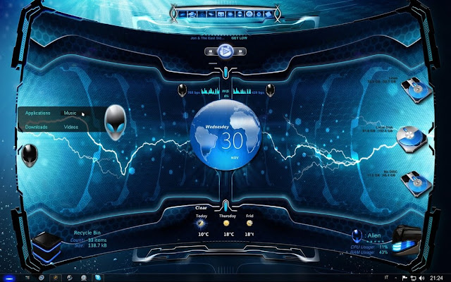 Alien 3d Rainmeter Skin theme free download