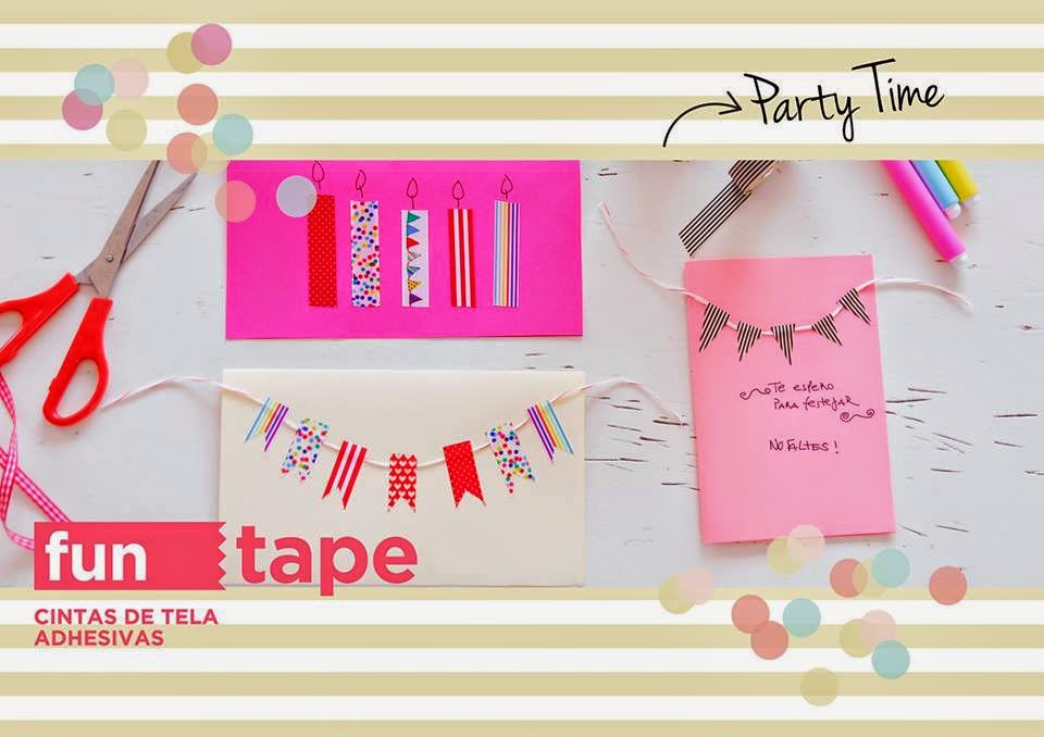 cintas adhesivas de tela fun tape party time