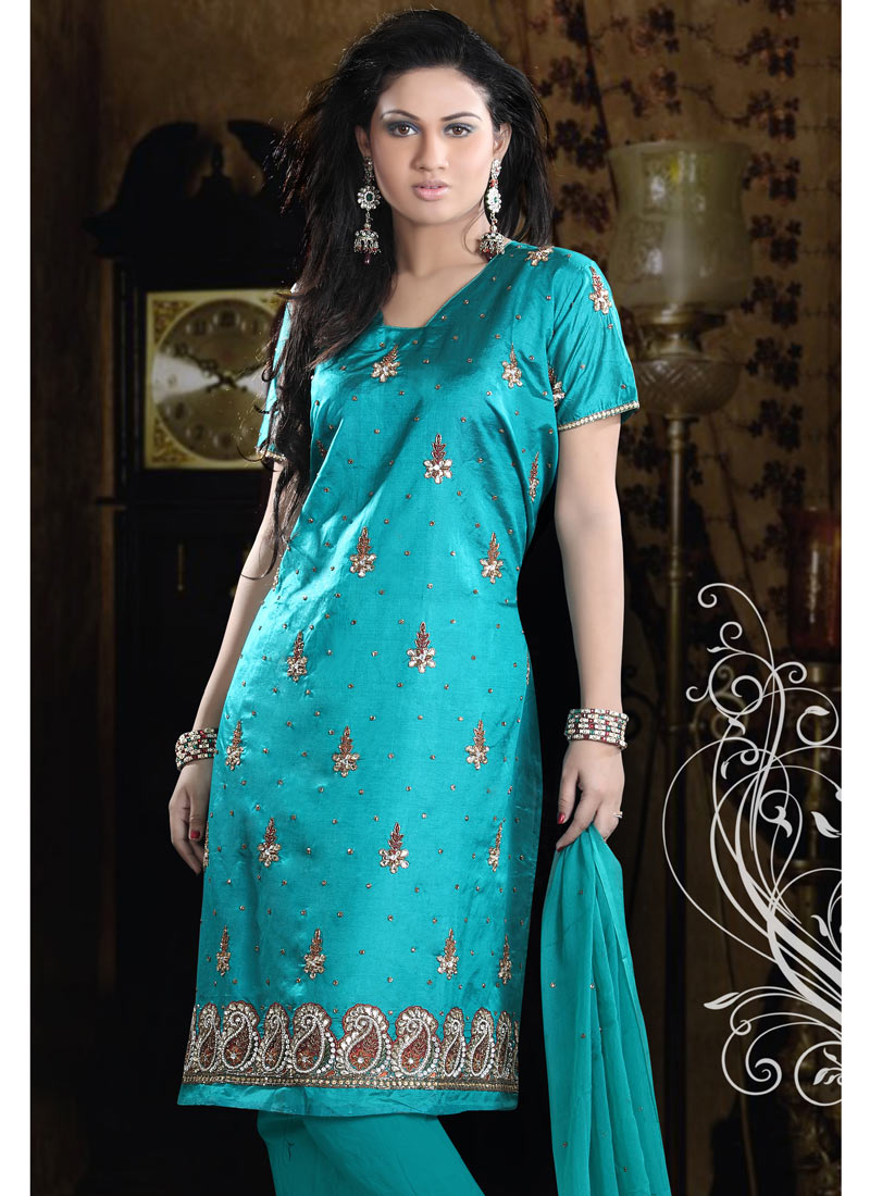 Pure Dupion Silk Churidar Suit - Indian Party or Wedding Dress ...