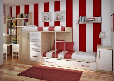 Cool Teen Red Dorm Room