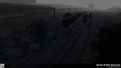 Fastline Simulation - North Staffs Minerals: Etruria Yard on a rainy day in North Staffs Minerals a route for RailWorks Train Simulator 2012.