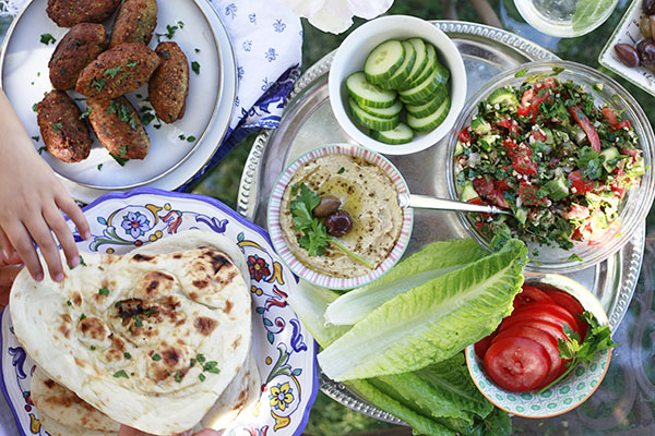 A simple middle eastern dinner with an edible mosaic vegetarian faiths falafel inside a lettuce wrap with hummus and tabbouleh an amazingly satisfying vegetarian meal this meal was so tasty im going to make a point forumfinder Gallery