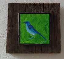 Blue bird on Green