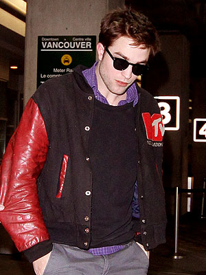 Robert Pattinson Leather Jacket on Robert Pattinson Arrives In Vancouver Sporting Mtv Leather Jacket
