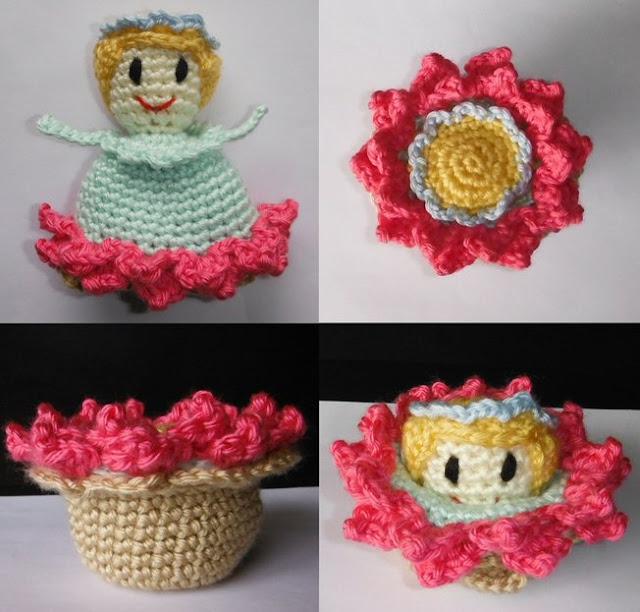 Free Crochet Flower Basket Pattern : Grandma perkins crocheted magical flower child and basket
