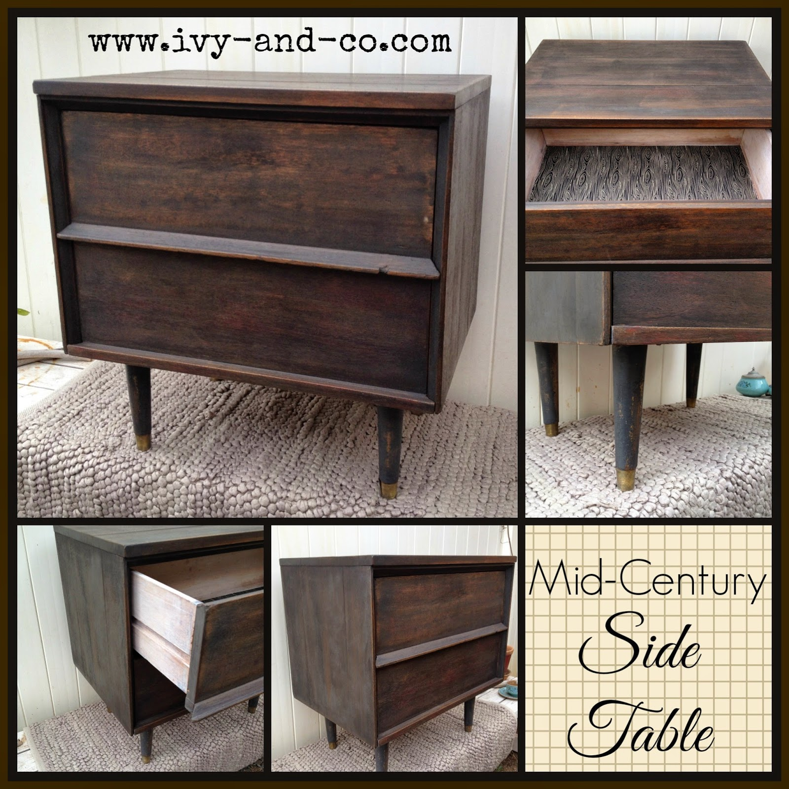 black DIY mid-century side table collage