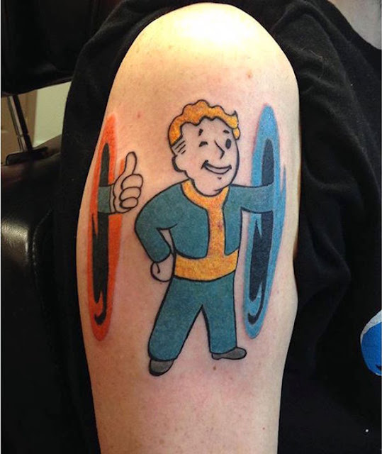 pip boy, Vault boy tattoo, awesome, Portal tattoo, Combined, together, gamers4cast