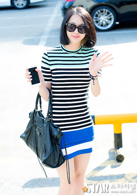 Steal Dasom's Music Bank Look: Bodycon Striped Dress