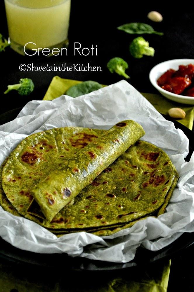 green roti - spinach broccoli pistachio roti - green chapati - green indian flatbread