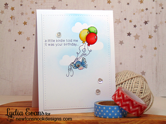 Bird with Balloons Birthday Card by Lydia Evans | Newton's Birthday Flutter Stamp set by Newton's Nook Designs
