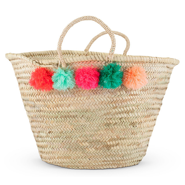 Wicker Basket With Pom Poms : Pom beach bag bags more