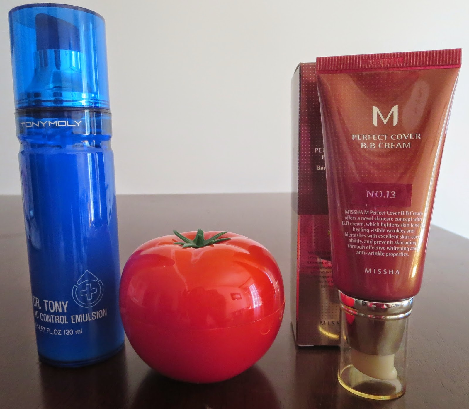 a picture of TONYMOLY moisturizer, TONYMOLY Tomatox mask, Missha Perfect Cover BB cream