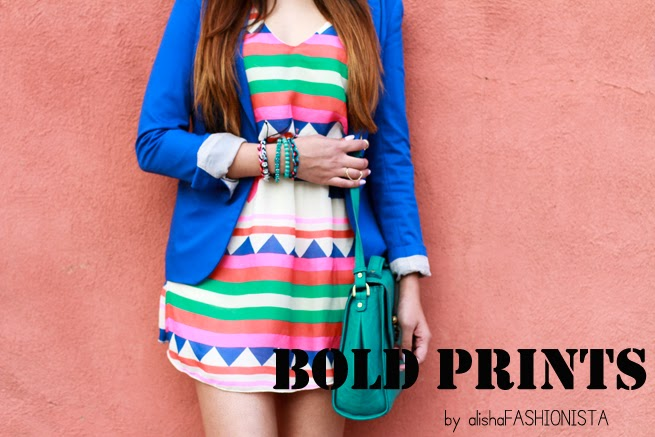 bright prints summer dress bright blue blazer turquoise bag colorful dress gold wingtip shoes colorful bracelets