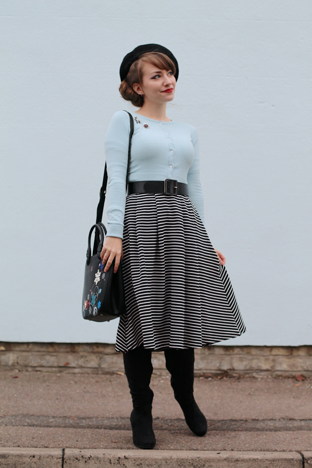 50s style winter outfit with Hell Bunny Paloma cardigan, stripe swing skirt, beret and knee high boots