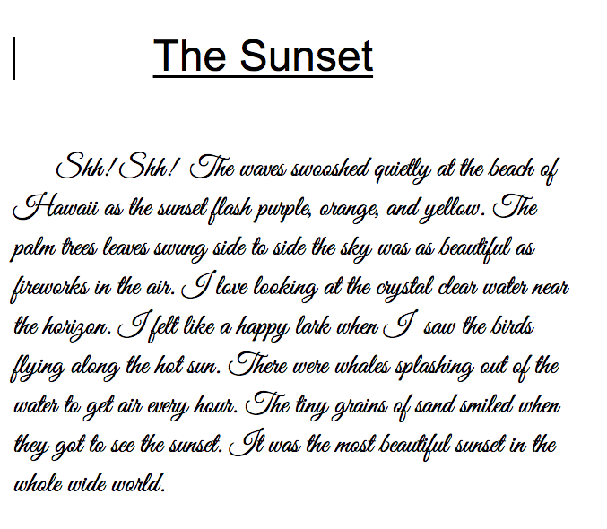 sunset at the beach descriptive essay Related titles: summer, travel/vacation seasons: beach _____ and me down by the sea a day at the beach a quick dip a walk on the beach a whale of a time aqua kid(s).