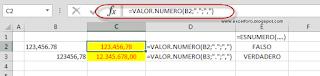 La función VALOR.NUMERO: Convertir Números como texto a números (puntos por comas).