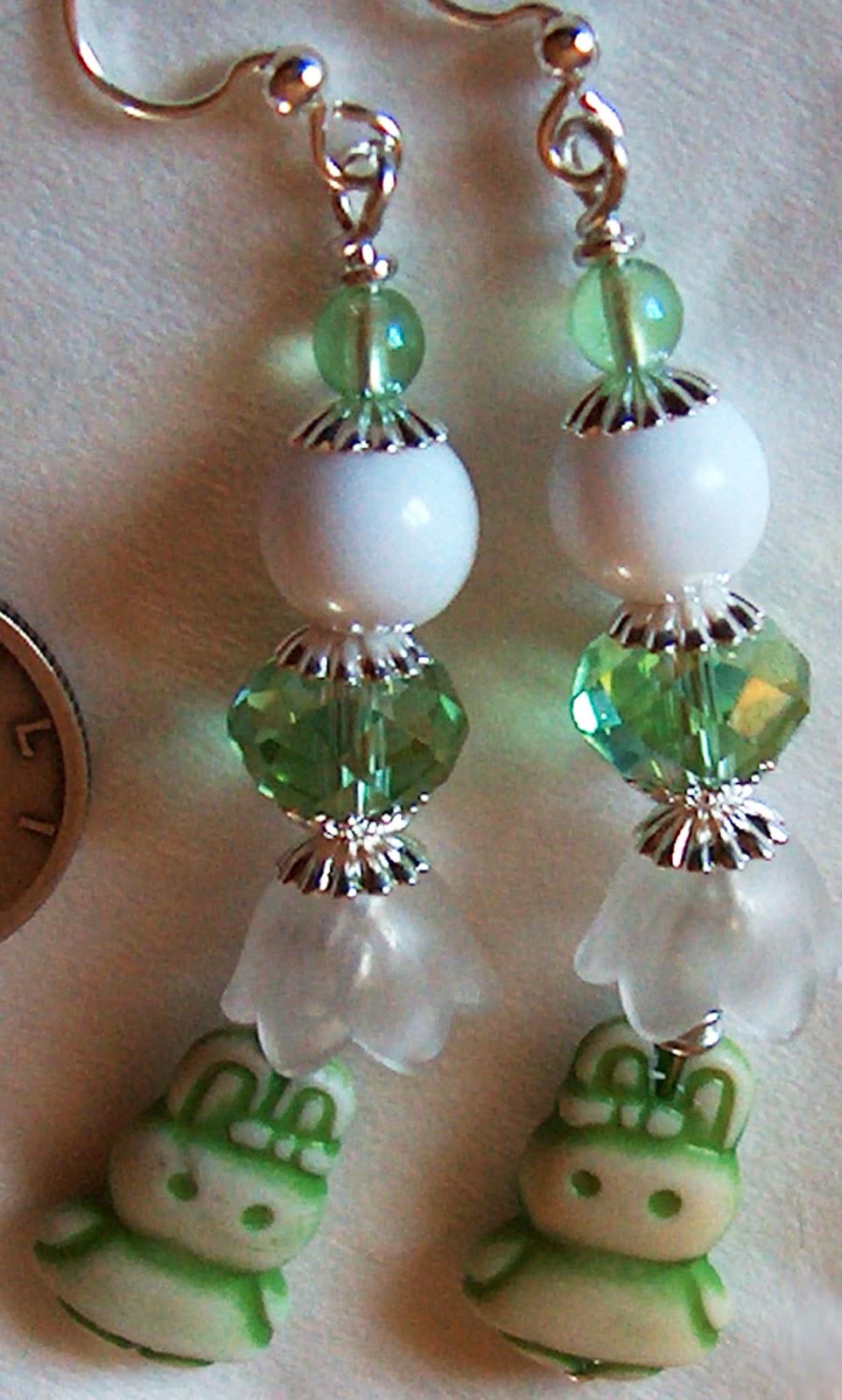 Green Rabbit Earrings