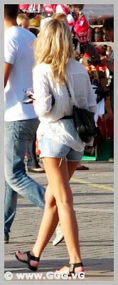 Girl in jean mini shorts on the street