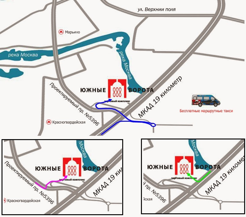 Схема проезда  до ТК «Южные ворота» личным транспортом