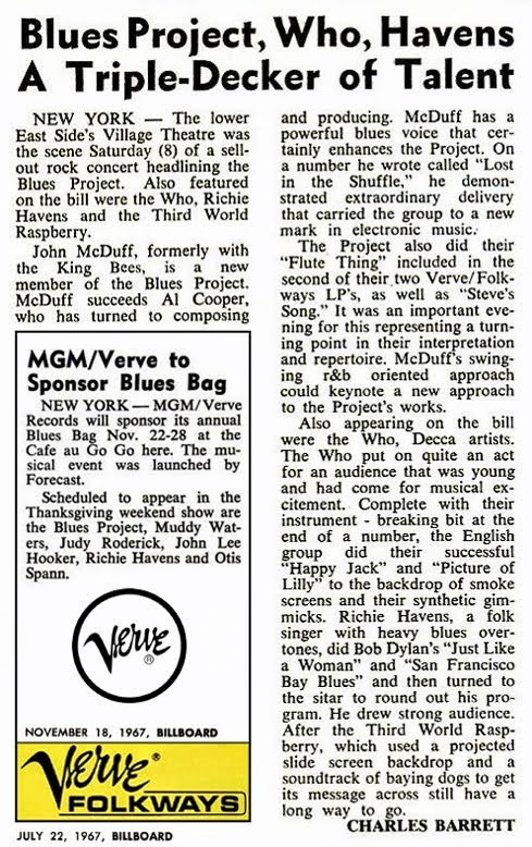 Blues Project Articles Billboard Magazine July 22, 1967