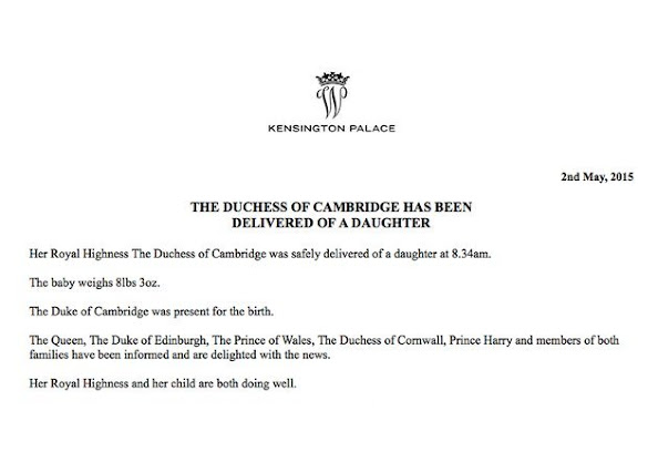 Kate, the Duchess of Cambridge, has given birth to a baby girl, royal officials said Saturday. Kensington Palace said in a brief statement that Prince William's