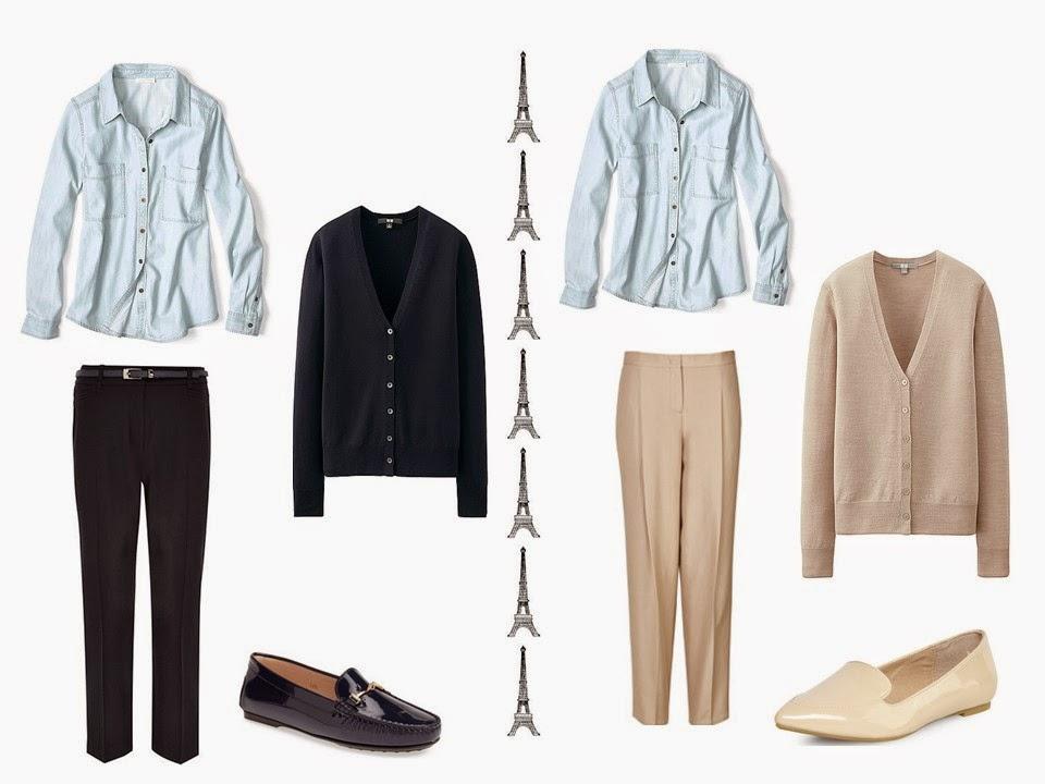 Wear a denim shirt with a black cardigan and trousers, or a camel cardigan and trousers.
