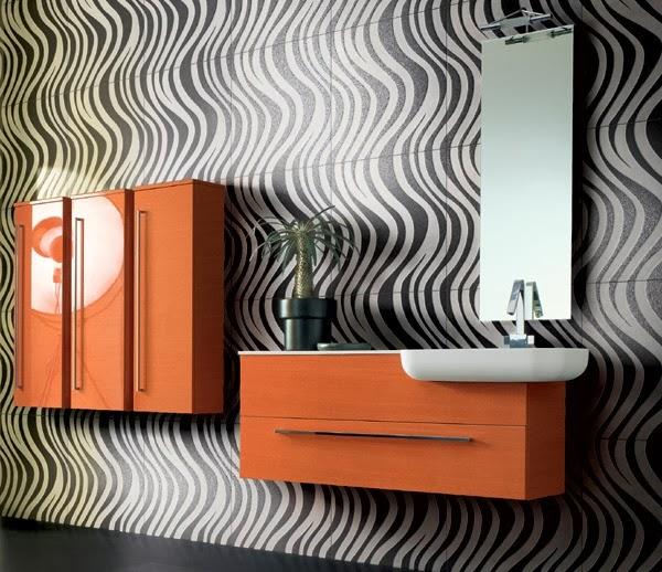 Accesorios Baño Gris:Baños en color naranja y gris – Colores en Casa