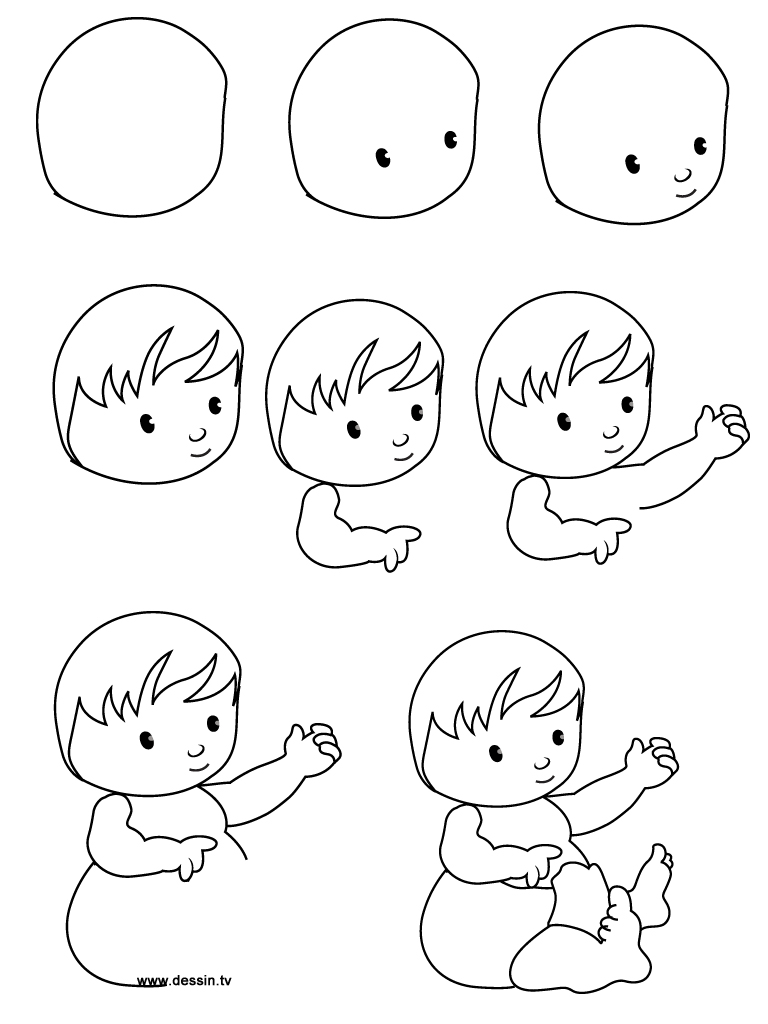 how to draw an easy baby boy