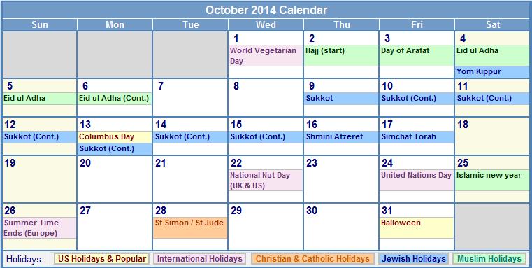October 2014 Calendar Printable With Holidays Printable Calendar