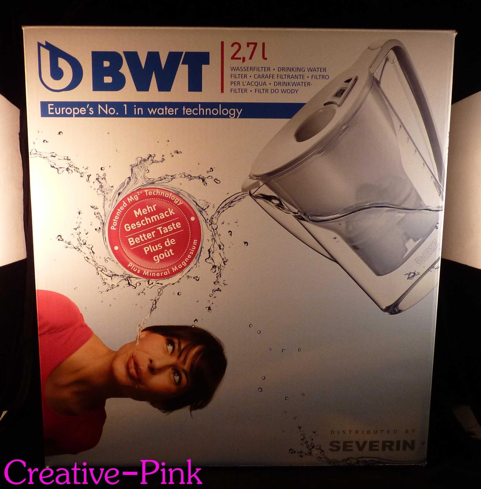 bwt tischwasserfilter gefiltertes wasser zum trinken und kochen creative pink. Black Bedroom Furniture Sets. Home Design Ideas