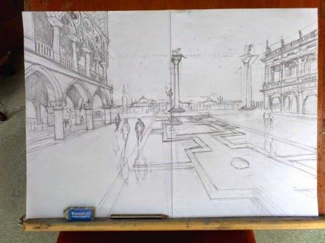 A drawing exercise on a rainy day.  Italy is a great challenge to get perspective right!