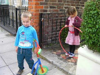 hula hoop and a privet hedge