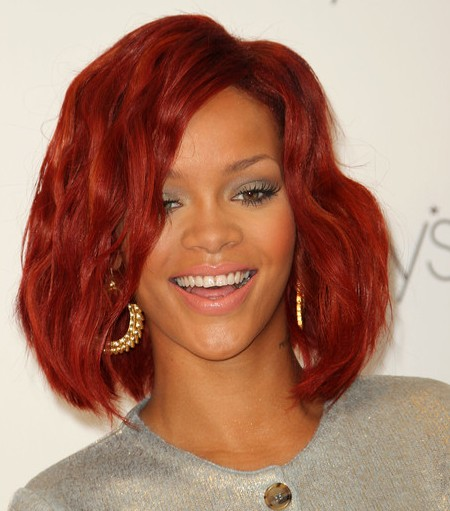 Celebrity Rihanna Red Hair Highlights Picture