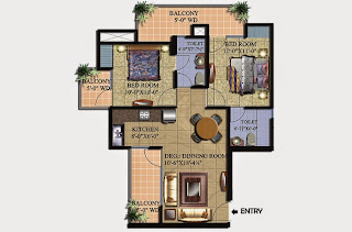 Livingston :: Floor Plans,Block A:-2 BHK (Type A1)2 Bedroom, 2 Toilet, Kitchen, Dining, Drawing, 3 Balconies Super Area - 1000 Sq Ft