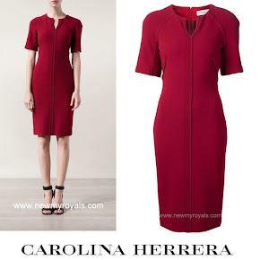 Queen letizia Style Carolina Herrera Split Neck Dress