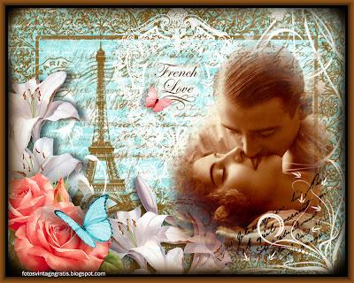 postal vintage de San Valentin con pareja retro, flores y París al fondo