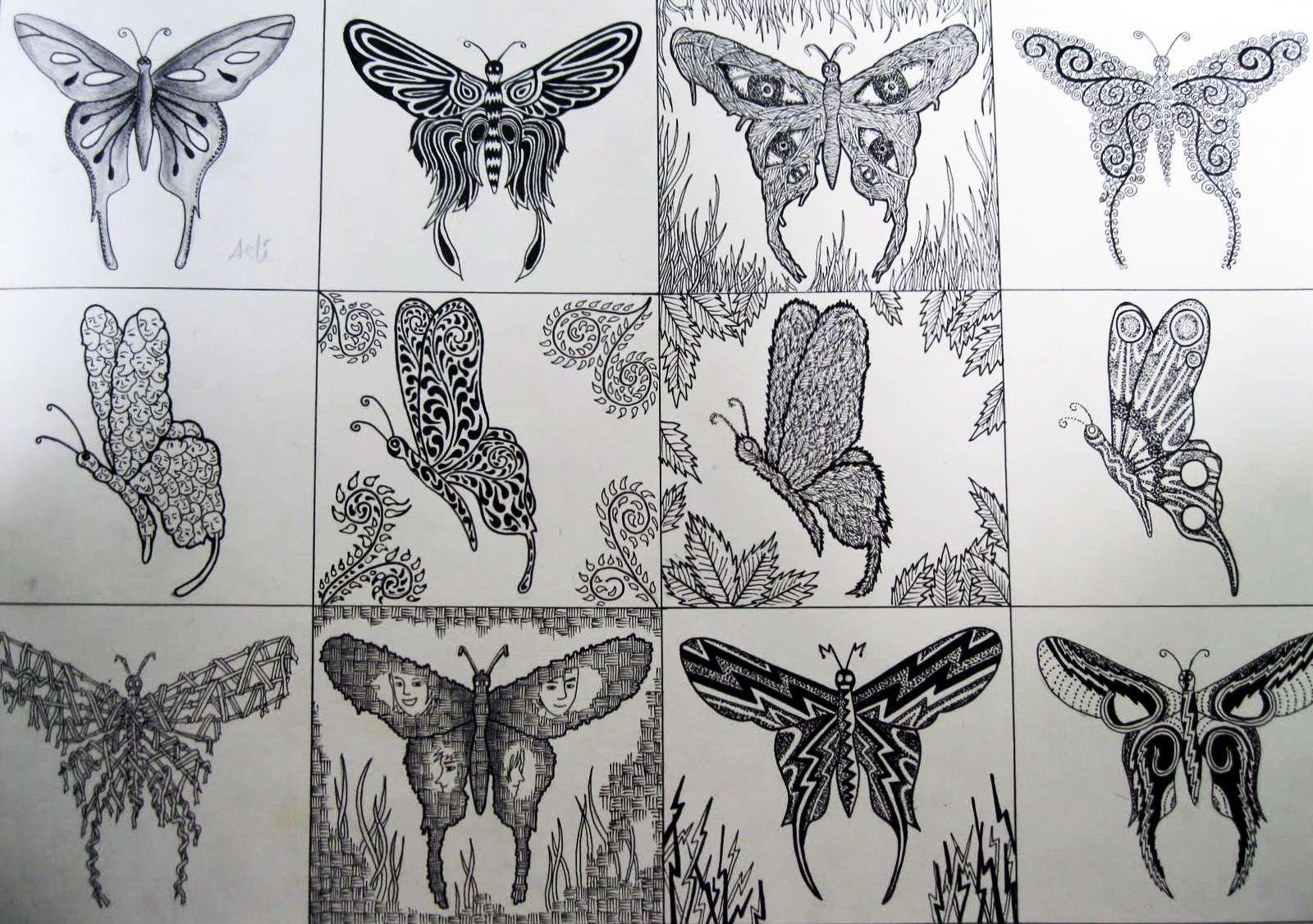 gambar burung corak deformasi gambar daun corak deformasi gambar ikan
